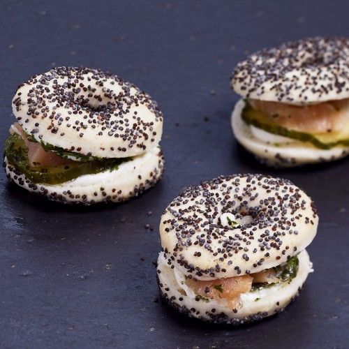 Mini bagels saumon et concombre